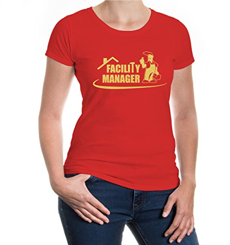 buXsbaum® Girlie T-Shirt Facility Manager Red-Gold