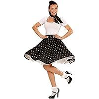 1f0ba3b3937996 Tellerrock und Halstuch schwarz 60er Jahre Petticoat Pünktchen Rock Polka  Pünktchenrock Tellerrock Sixties Rockn Roll 50er
