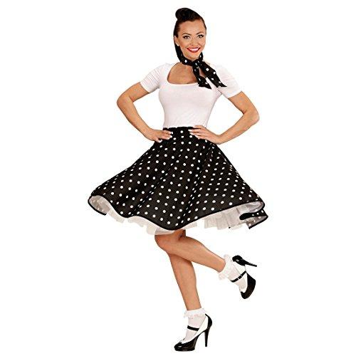 Rock 60's 50's Und And Kostüme Roll (Tellerrock und Halstuch schwarz 60er Jahre Petticoat Pünktchen Rock Polka Pünktchenrock Tellerrock Sixties Rockn Roll 50er Jahre)