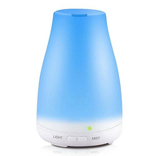 KBAYBO 100ML Diffusore aromatico, Ultrasuoni Olio essenziale aromatico Diffusore Umidificatori freschi a nebbia con 7 lampade a colori colorate LED, Auto-spegnimento senza acqua