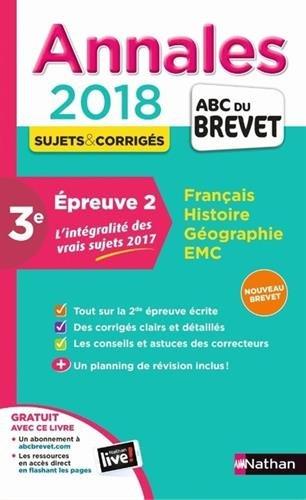 Annales ABC du BREVET 2018 - Epreuve 2