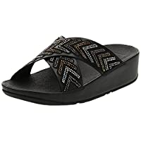 FITFLOP Cora Crystal Slides for Women, All Black 090, 39 EU