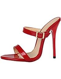 L YC Chaussures à Talons Hauts aux Femmes Sandales à Nouilles Velours Drag/Red/Black, Red, 39
