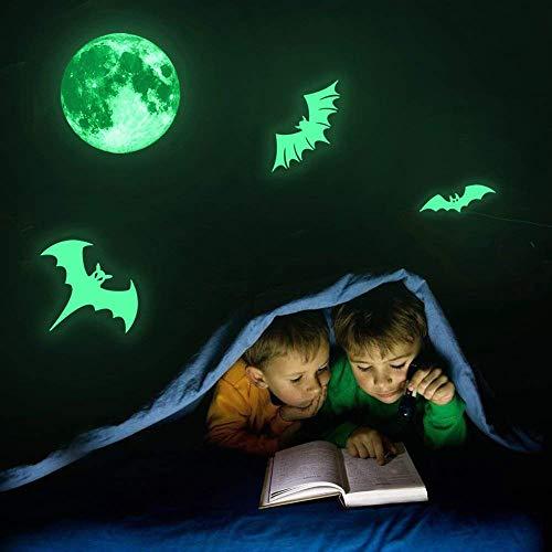 HARRYSTORE Gespenstisch Mond Fledermäuse Fluoreszierende Leuchtenden Aufkleber Nacht Leuchten Aufkleber Wand Halloween -