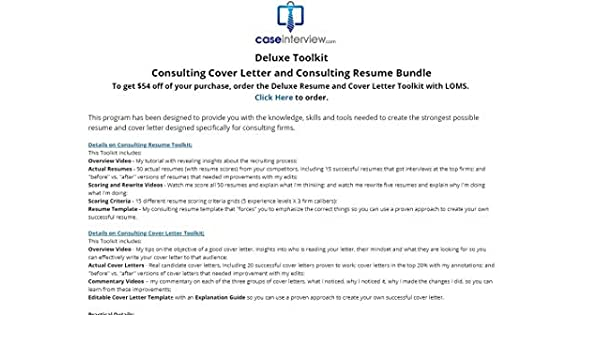 Consulting Cover Letter + Consulting Resume Tool kit by Victor Cheng ...