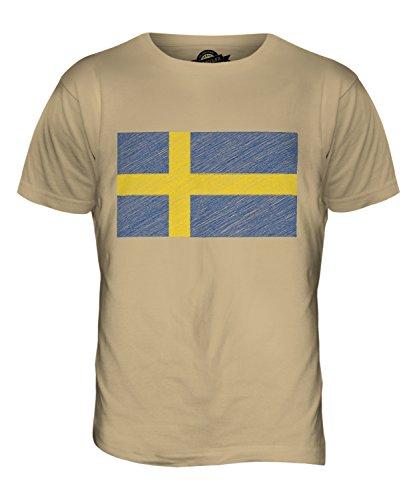 CandyMix Schweden Kritzelte Flagge Herren T Shirt Sand