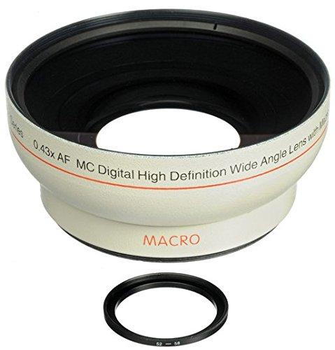 52 mm 58 mm Obiettivo Grandangolare Convertitore 0,43X con macro per Canon EOS 1D, 5D, 5DS, 5DS R, 6D, 7D, 10D, 20D, 30D, 40D, 50D, 60D, 70D, 80D, 100D, 300D, 350D, 400D, 450D, 500D, 550D, 600D, 650D, 700D, 750D, 760D, 1000D, 1100D, 1200D, 1300D Fotocamera Reflex Digitale (Diametro 52mm 58mm (Bianco)