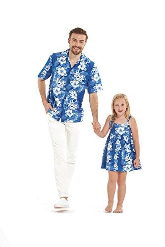 Hecho-en-Hawaii-a-juego-Padre-hija-Hija-Luau-camisa-vestido-de-correa-elstica-en-Blanco-Floral-en-azul-M-6