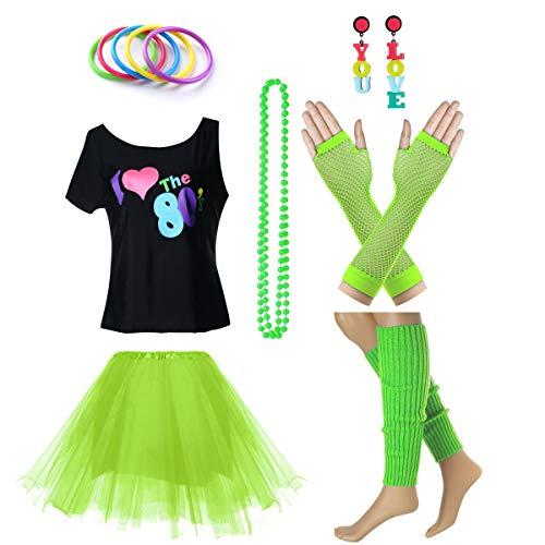 Fun Daisy Clothing Damen I Love The 80er Jahre T-Shirt 80er Jahre Outfit Zubehör, Grün - UK 14-16 / ()