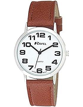 Ravel Unisex Armbanduhr R0105.32.1A, Zifferblatt rund Weiß, mit Armband Braun
