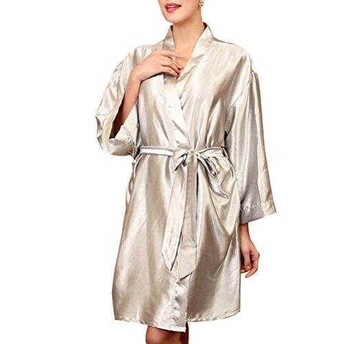 One Shoulder Silk Gown (Zhhlinyuan Womens Satin Dressing Gown Kimono Robe Wedding Kimono Nightwear Sleepwear Bathrobe)