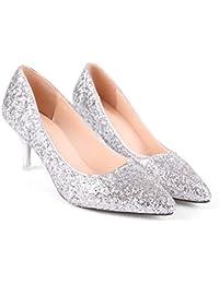 PMYF✮ I Tacchi Alti di Cristallo d Argento Sexy a Stiletto con Paillettes  Singole Scarpe da Donna a Punta Pompe… 6a8a7aa169e