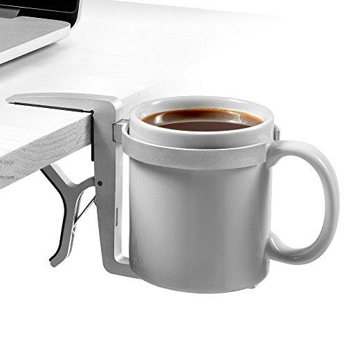 Preisvergleich Produktbild Vector Tassenhalter/Getränkehalter – klemmbare, zusammenlegbar, tragbare und verstellbare Universal-Tassenhalter/Getränkehalter (Silber-Aluminium) für Reisen, Flugzeuge, Schreibtische, Tische und Rollstühle