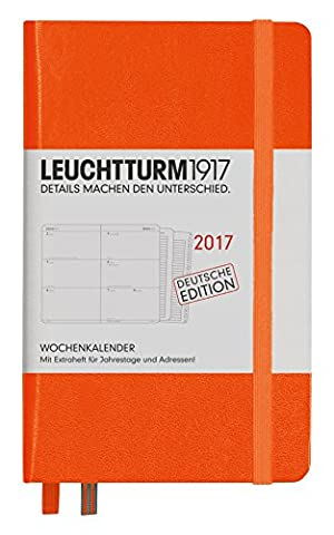 Leuchtturm1917348159Diary Pocket A62017with Extra Book for Addresses, Bridesmaid Gift, Orange