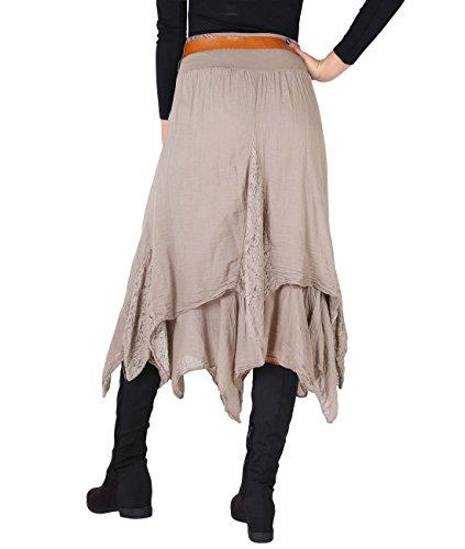KRISP® Damen Fransen Gypsy Rock mit Gürtel Mokka