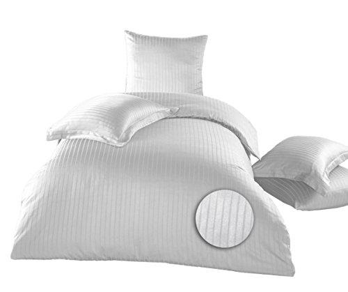 elit Home-Collection 2 tlg.Bettwäsche 135 x 200 cm 80 x 80 Kissenhülle Mako Satin 2cm Damaststreifen 100% Baumwolle Hotel Bettgarnitur Line (Weiß) (Hotel Collection Bettwäsche-sets)