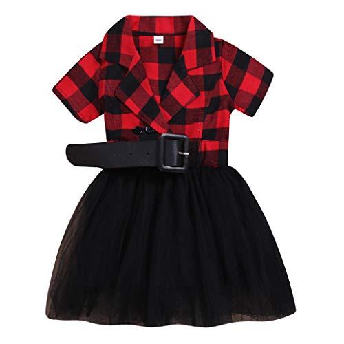 Kleinkind Kind Baby Mädchen Rock, Evansamp Kurzarm Plaid Mesh Kleid Tüll Patchwork Lässig Prinzessin Party Sommerkleid Urlaub Kleid(rot,120) -