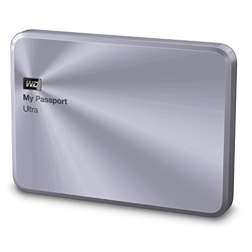 Western Digital 3TB My Passport Ultra Metal Edition tragbare externe Festplatte- USB3.0, Silber, Schlankes, stilvolles Aluminiumdesign, Hardware Verschlüsselung, Backup Software- WDBEZW0030BSL-EESN
