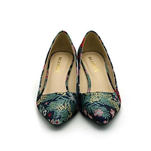 QPYC Tacchi alti da donna Single Shoes Tacco grezzo Ricamato Bocca Superficiale a punta Autunno / Autunno Comfort Ufficio e carriera Blu Dark blue