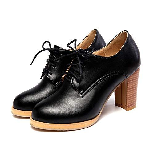 MENGLTX High Heels Sandalen Frauen Chunky Holzdruck High Heels Lace Up School Girl Stil Casual Spring Schuhe Frau Pumps Big Size 34-43 6 Schwarz