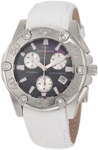 Rotary ALS90033/C/38 - Reloj cronógrafo de cuarzo para mujer con correa de piel, color blanco