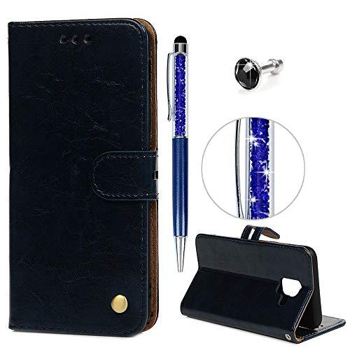 iAdvantec A6 Hülle Case, Filp PU Leder Wallet Handyhülle Flipcase : Bookstyle Ölwachs Tasche Brieftasche Schutzhülle für Samsung Galaxy A6 in Königsblau + Anti Staub Stöpsel + Stylus