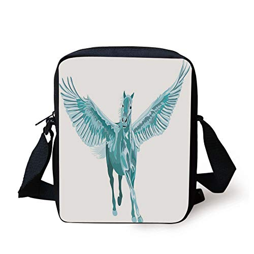 Horse Decor,Artistic Blue Pegasus Horse with Open Wings Fantasy Mystery Myth Flight,Turquoise White Print Kids Crossbody Messenger Bag Purse Flip-open Cell