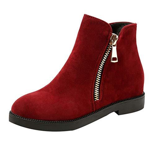 ZYUEER Femme Bottes De Neige Chaud Chaussures Boots Femme Daim, Bottines Zippé Hiver Chaud DoubléE Polaire Pas Cher Heel High: 2.5cm (39 EU(40 CN), Rouge)
