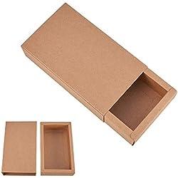 BENECREAT 16 Pack Kraft Papier Tiroir Boite Festival Cadeau Emballage Boites Savon Bijoux Candy Desherbage Party Faveurs Emballage Cadeau Boites - Brun (17.2x10.2x4.2cm)