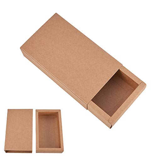 BENECREAT 16 Pack Kraft Paper Drawer Box Festival Gift Wrapping Boxes Soap Jewelry Candy Weeding Party Favors Gift Packaging Boxes - Brown (17.2x10.2x4.2cm)