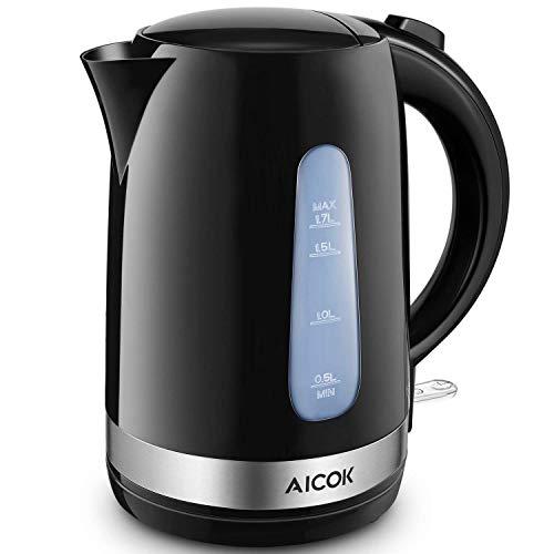 Aicok bollitore elettrico, bollitore acqua con capacità di 1.7 l, bollitore viaggio a risparmio energetico potenza 2200w, bollitore automatico per acqua,tè,tisane colore nero