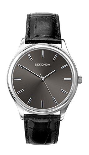 Sekonda, orologio al quarzo da uomo, con quadrante analogico nero e cinturino di pelle nero, codice prodotto: 1533