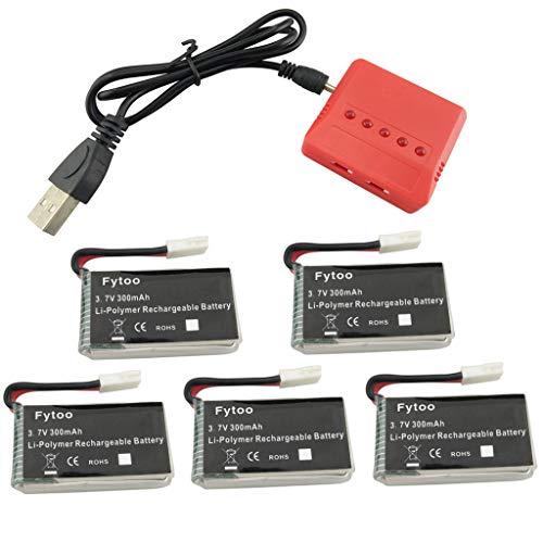 Fytoo 5PCS 3.7V 300mAh Lipo Batería y 5 en 1 Cargador para Hubsan X4 (H107C, H107D, H107L), Syma X11 X11C, TDR Spider,Holy Stone HS170,HS170C,F180W,F180C RC Quadcopter Repuestos