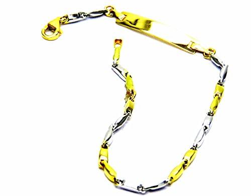 Pegaso Gioielli-Armband gold 18kt Gelb und Weiß mit Schild-Kinder Geburt -