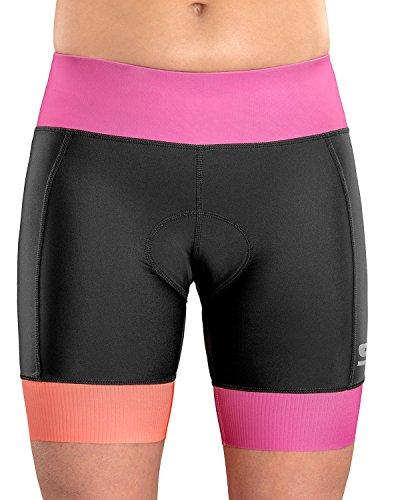 SLS3Damen Triathlon Shorts FRT | 15,2cm Schwarz Frauen Tri Kurz |, Super Bequeme mit Weichem Chamois | in Deutschland Entworfen 2018, Black/Rose Violet, Large