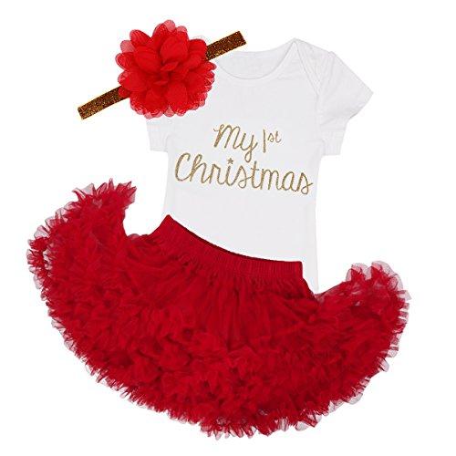 Agoky Baby Mädchen Weinachten Kleidung Set Neugeborenes First Christmas Party Festzug Outfits Body Strampler mit Tutu Rock Blumen Haarband Weiß&Rot 68/6 Monate