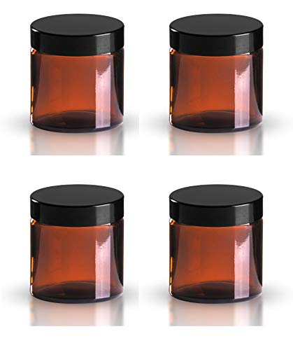 Pack 4 x 120ml Braunglas Kosmetikdosen mit schwarzem Deckeln. Geeignet für Aromatherapie, Cremes, Softgel, Seren, Wax, Salben usw. -