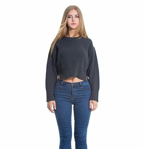 VENIMASEE Sexy Sweater Crop Top Cross Back Übergroße Crewneck Pullovers Grau (Cross Crop Top Back)