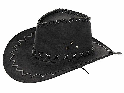 1 x Cowboyhut Kinder-Hut Schwarz Westernhut Western Kostüm Karneval Fasching (Junior Cowboy Kostüm)