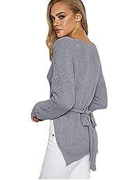 f6492f86826084 Pullover Damen Strickjacke Sweatshirt Top Blouse Ronamick Unregelmäßig  Gurte Loose Knitwear V-Ausschnitt Lange Ärmel