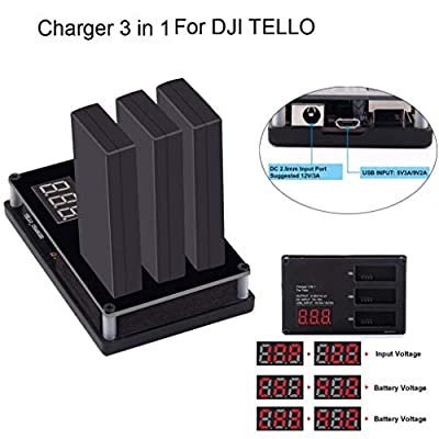 RCruning Tello Battery Charger Drone Battery Housekeeper 3 Batteries Ports Digital Display DC/USB Input Ports Charger Accessories for DJI Tello Drone Battery