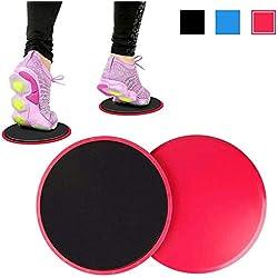 Deslizadores de ejercicio, discos de doble cara equipo de fitness para abdominales, ejercicios caseros para fortalecer la base, utilizado en alfombras o pisos duros con bolsa de transporte