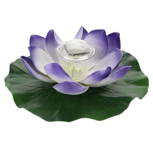 Wasserdichte Solar Power Multi-Colored LED Farbe Ändern Lotus Schaum Blume Lampe Outdoor Schwimm Garten Pool Teich Licht MEHRWEG VERPACKUNG socialme-eu(Buntes Lila) -