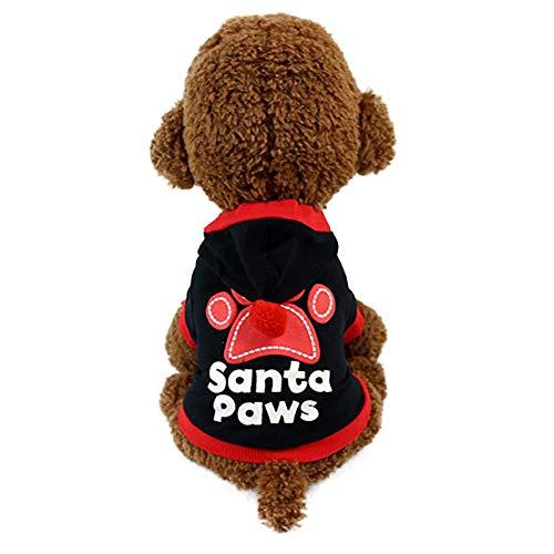 40b74966d0a6 JSMeet Pet Christmas Hoodie, Letter Print Santa Paws Sweatshirt T Shirt  Puppy Dog Cat Tops Xmas Clothing Costume Clothing (Black)
