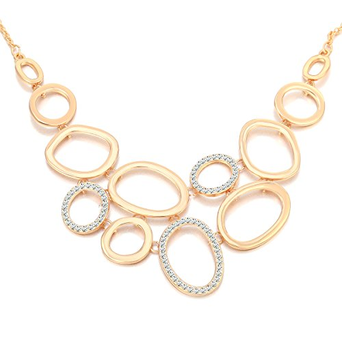 Ouran Unisex Mujer Hombre Niños Rose Gold and Silver Plated chapado en oro Round Brilliant incoloro Crystal