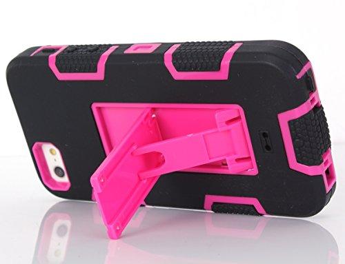 iPhone SE 5SE 5 5S Hülle, FindaGift 3 in 1 Hybride Handycover Hartschale Cover Roboter Guard Schutzhülle Innere PC Case Weich Silikon Back Rüstung Ganzkörper-Schutz [Bruchsicher] [Anti-Rutsch] Handyta Schwarz + Pink