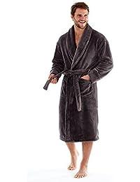 9947085cd5 Harvey James Mens Soft Warm Thick 300g Luxury Fleece Dressing Gown Robe  Plain Navy Blue or Black Size M L…