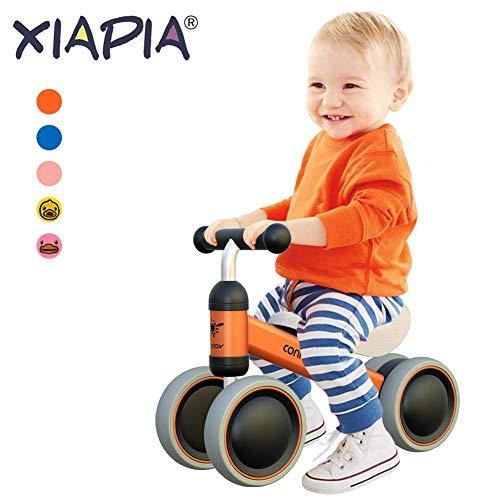 Kinder Laufrad Spielzeug für 10 - 24 Monate Baby, Lauflernrad mit 4 Räder, Erst Fahrrad für Jungen/Mädchen als Geschenke für 1 Jahr Alt Orange