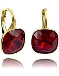 1a4f1087224c Crystals   Stones  muchos colores   SQUARE  Plata 925 dorados 24K -  Ohrringe con cristales de Swarovski® - Bonito Ohrringe damas…