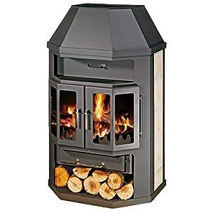 Estufa de leña con caldera integral 2 puertas arco 14/18 kW calefacción potencia cerámica forro superior flauta